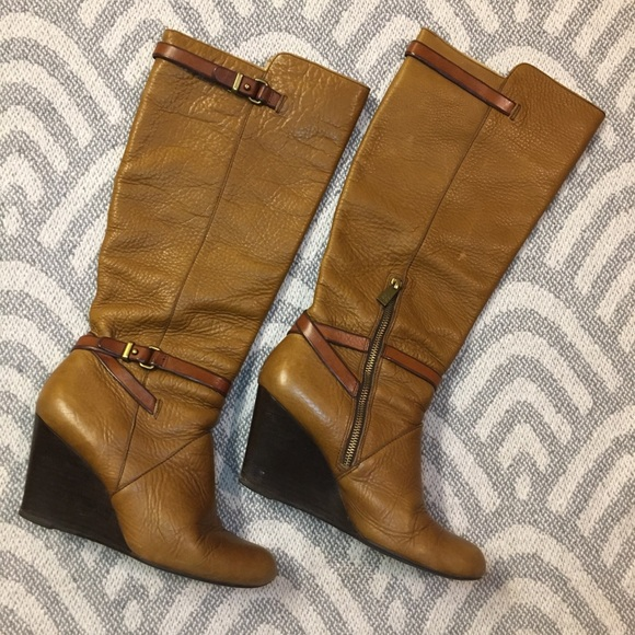 COACH Adair Wedge Heel Tall Boots Brown Tan, 8.5B
